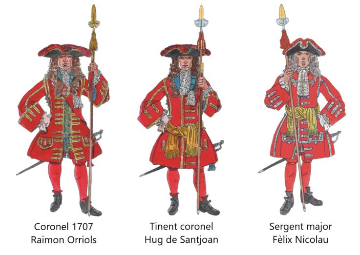 Oficials Majors Coronela de Barcelona, 1707