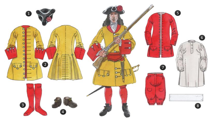 Uniforme de la companyia dels Esteves, 1710